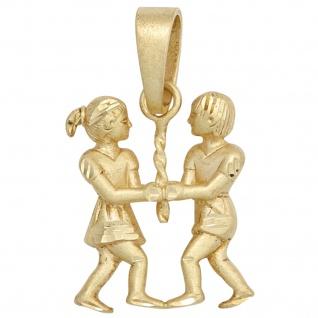 Anhänger Sternzeichen Zwilling 585 Gold Gelbgold matt Sternzeichenanhänger