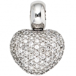 Anhänger Herz 585 Gold Weißgold 107 Diamanten Brillanten Herzanhänger