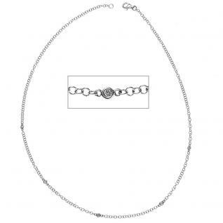 Collier Halskette 585 Gold Weißgold 5 Diamanten Brillanten 43 cm Kette Goldkette