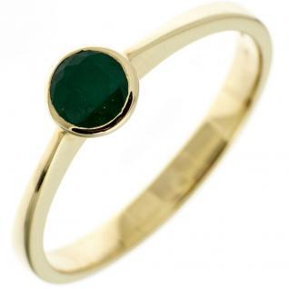 Damen Ring 333 Gold Gelbgold 1 Smaragd grün Goldring - 52