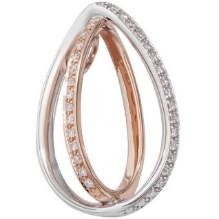 Anhänger 585 Gold Weißgold Rotgold bicolor 32 Diamanten Brillanten Goldanhänger