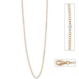 Collier Halskette 585 Gold bicolor 5 Diamanten Brillanten 43 cm Kette Goldkette