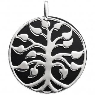 Anhänger Baum 925 Sterling Silber rhodiniert mit Onyx-Imitation