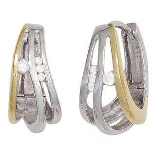 Creolen 925 Sterling Silber bicolor vergoldet 7 Zirkonia Ohrringe