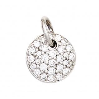Anhänger rund 585 Gold Weißgold 29 Diamanten Brillanten 0, 34ct. Weißgoldanhänger