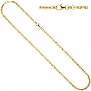Ankerkette 333 Gold Gelbgold diamantiert 3 mm 50 cm Kette Halskette Goldkette