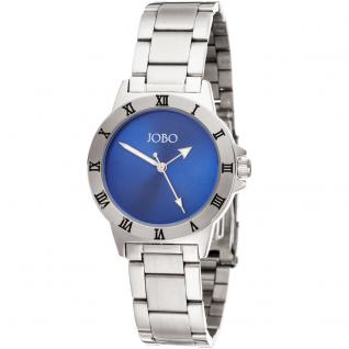 JOBO Damen Armbanduhr blau Quarz Analog Edelstahl Damenuhr