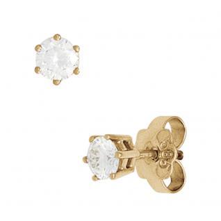 Ohrstecker rund 585 Gold Gelbgold 2 Diamanten Brillanten 1, 0ct. Ohrringe