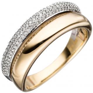 Damen Ring 585 Gold Gelbgold Weißgold bicolor 101 Diamanten Brillanten Goldring - 60