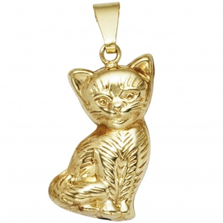 Kinder Anhänger Katze 333 Gold Gelbgold Kinderanhänger
