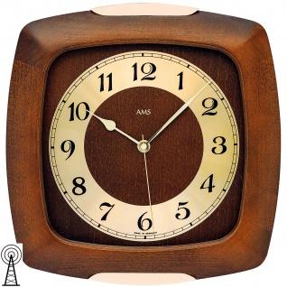 AMS 5804/1 Wanduhr Funk Funkwanduhr analog golden Holz nussbaum farben