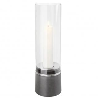 Windlicht Blomus PIEDRA mit Kerze, Polystone mit Edelstahl matt, Glasaufsatz