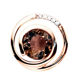 Anhänger 585 Gold Rotgold 5 Diamanten Brillanten 0, 035ct. 1 Rauchquarz braun