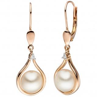 Ohrhänger 585 Rotgold 2 Süßwasser Perlen 2 Diamanten Brillanten Ohrringe