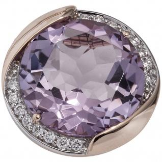 Anhänger rund 585 Gold Rotgold 16 Diamanten Brillanten 1 Amethyst violett lila