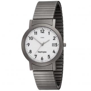 JOBO Herren Armbanduhr Quarz Analog Titan Flexband Herrenuhr mit Datum