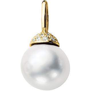 Anhänger 585 Gold Gelbgold 1 Süßwasser Perle 28 Diamanten Perlenanhänger