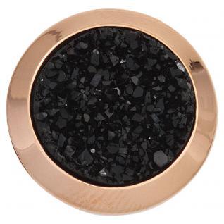 Damen Ring Edelstahl rotgold vergoldet mit Resin schwarz kombiniert