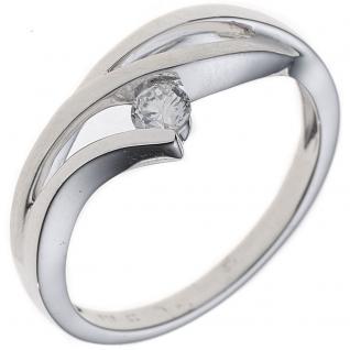 Damen Ring 333 Gold Weißgold mattiert 1 Zirkonia Goldring