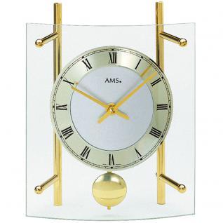 AMS 135 Tischuhr Quarz mit Pendel messing farben golden geschwungen mit Glas