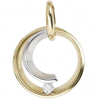 Anhänger rund 585 Gold Gelbgold Weißgold bicolor 1 Diamant Brillant 0, 10ct.