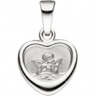 Anhänger Herz Schutzengel 925 Silber Rückseite mit Prägung Gott schütze Dich