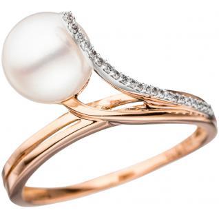 Damen Ring 585 Rotgold Weißgold 1 Süßwasser Perle 22 Diamanten Brillanten