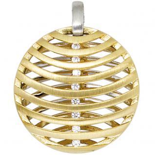 Anhänger rund 585 Gold Weißgold Gelbgold bicolor matt 8 Diamanten Brillanten