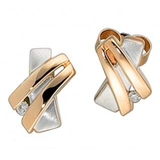 Ohrstecker 585 Gold Rotgold bicolor teilmatt 2 Diamanten Brillanten Ohrringe