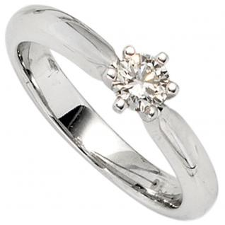 Damen Ring 585 Gold Weißgold 1 Diamant Brillant 0, 38ct. Diamantring Goldring