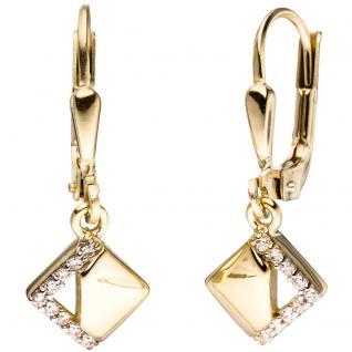 Boutons quadratisch 333 Gold Gelbgold bicolor mit Zirkonia Ohrringe Ohrhänger