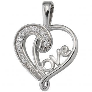 Anhänger Herz / LOVE 925 Sterling Silber rhodiniert mit Zirkonia Herzanhänger