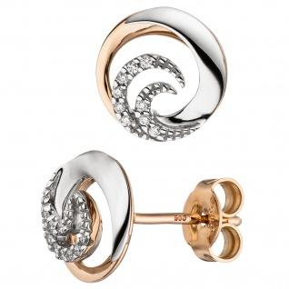 Ohrstecker 585 Gold Weißgold Rotgold bicolor 18 Diamanten Brillanten Ohrringe
