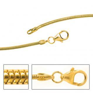 Schlangenkette 585 Gelbgold 2, 4 mm 70 cm Gold Kette Halskette Karabiner