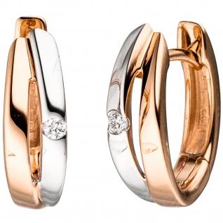 Creolen 585 Gold Rotgold bicolor 2 Diamanten Brillanten Ohrringe Goldcreolen