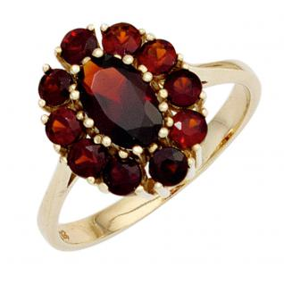Damen Ring 375 Gold Gelbgold 11 Granate rot Goldring - 56
