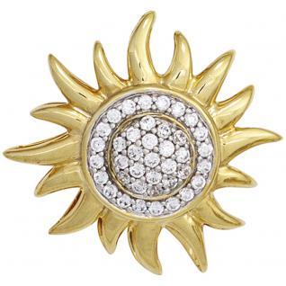 Anhänger Sonne 585 Gold Gelbgold bicolor 39 Diamanten Brillanten