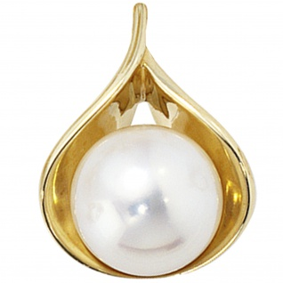 Anhänger 585 Gold Gelbgold 1 Süßwasser Perle Perlenanhänger