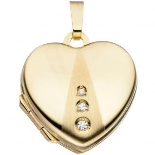 Medaillon Herz 333 Gold Gelbgold mattiert 3 Zirkonia Anhänger zum Öffnen