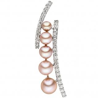 Anhänger 585 Weißgold 5 rosa Süßwasser Perlen 33 Diamanten Brillanten