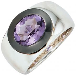 Damen Ring breit 925 Sterling Silber 1 Amethyst lila violett Silberring