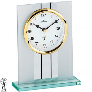 Atlanta 3093/9 Stiluhr Tischuhr Funk analog golden mit Glas
