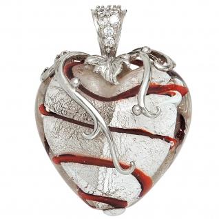 Anhänger Herz weiß-rotes Glas mit 925 Sterling Silber und Zirkonia Herzanhänger
