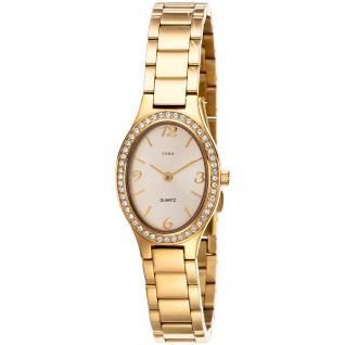 JOBO Damen Armbanduhr oval Quarz Edelstahl vergoldet mit SWAROVSKI® ELEMENTS