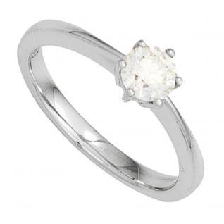 Damen Ring 585 Gold Weißgold 1 Diamant Brillant 0, 25ct. Diamantring Goldring - 56