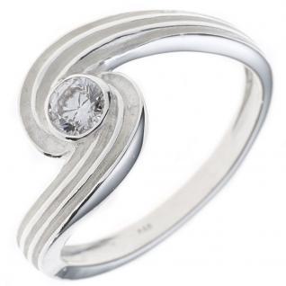 Damen Ring 925 Sterling Silber rhodiniert mattiert 1 Zirkonia Silberring - 50