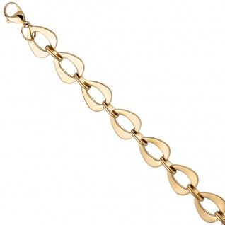 Armband aus Edelstahl gold farben beschichtet 21 cm Karabiner