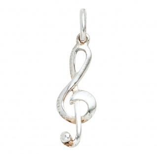 Anhänger Notenschlüssel Musik 925 Sterling Silber rhodiniert