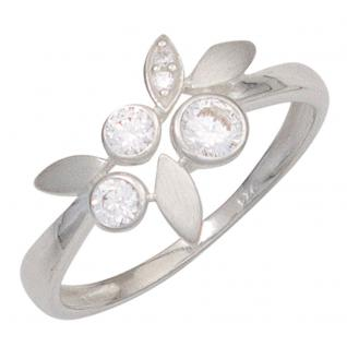 Damen Ring 925 Sterling Silber mattiert mit Zirkonia Silberring - 60