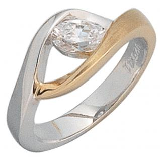 Damen Ring 925 Sterling Silber bicolor vergoldet mattiert 1 Zirkonia Silberring